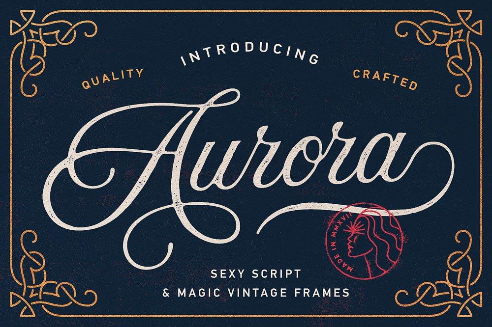 Aurora Script Frames Script Fonts Creative Market