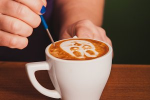 Latte art on the cup
