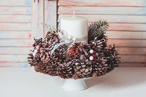 Christmas cones candlestick