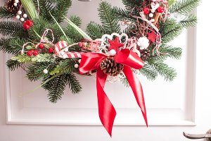 Red and white Christmas wreath