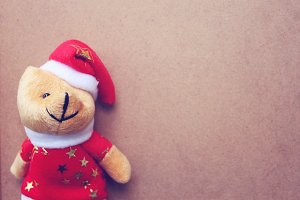 Christmas teddy bear in santa dress