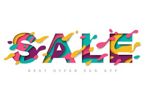 Sale typography design with abstract shapes