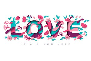 Love typography with abstract leaves and flowers