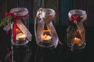 DIY glass candlesticks Christmas