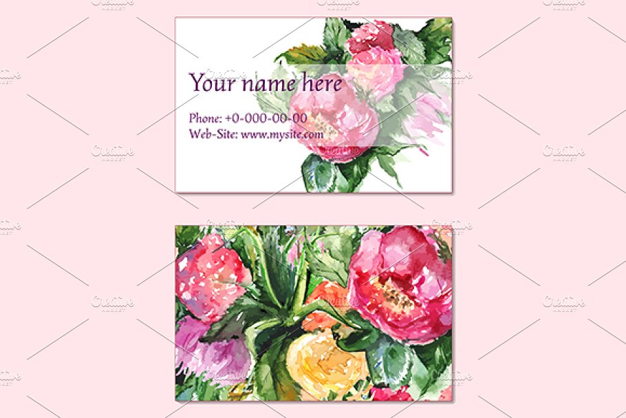 Floral business visit card vector