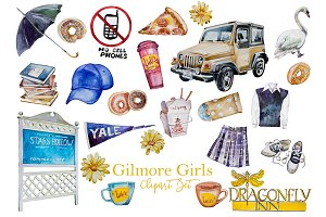 Watercolor Gilmore Girls Clipart Set