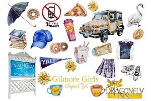 Watercolor Gilmore Girls Clipart Set