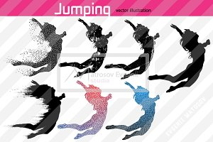 Silhouette of a girl. Jumping. Set