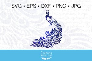 Peacock Clipart and Cut Files