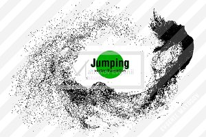 Silhouette of a girl. Jumping