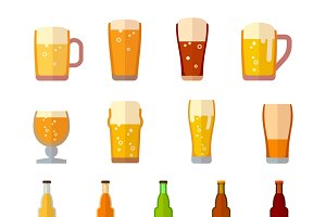 Beer vector icons in flat style