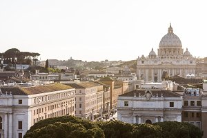 Saint Peter's Basilica and Borgo Sant'Angelo. Rome, Italy.