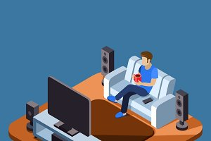 Man watching television on sofa