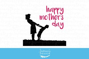 Happy Mother's Day - SVG, EPS, DXF