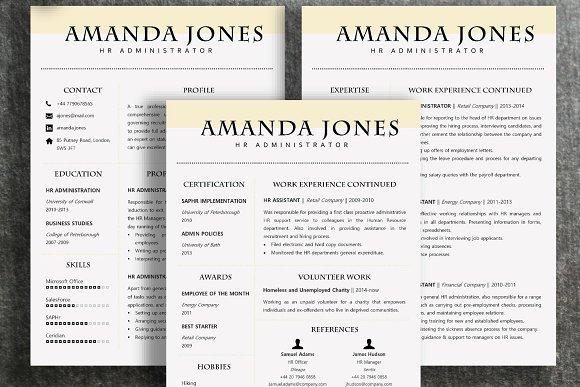 resume template amanda resume templates creative market
