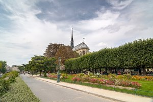 Square Jean XXIII near the catholic cathedral Notre-Dame de Paris.