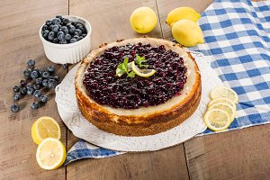 Baked blueberry lemon cheese cake
