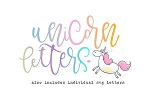 Unicorn Letters Font & SVG Letters