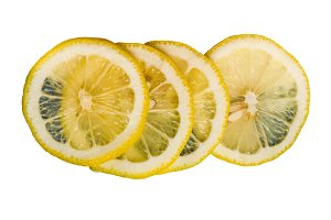 Lemon slices isolated on white