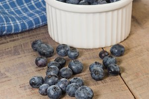 Fresh blueberries on a wooden table