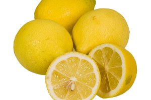 Lemons whole and sliced isolated