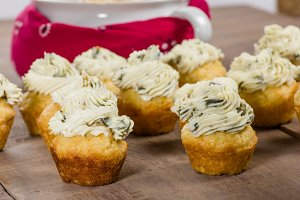 Corn muffins topped with hot pepper cheese