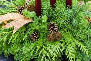 Christmas arrangement with pine cones