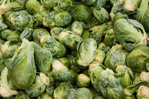 Bulk display of brussel sprouts