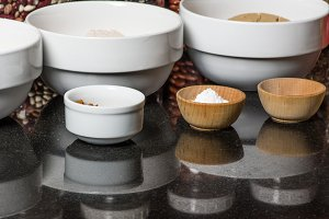 Bowls with spices and ingredients
