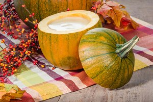 Pumpkin soup with fall decorations