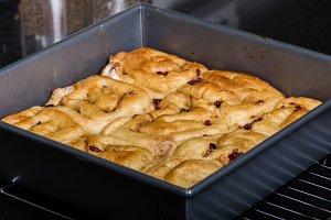 Pan of cinnamon rasin rolls just baked