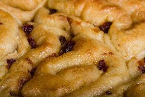 Cinnamon rolls with raisins close up