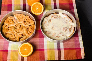 Pan of fresh baked iced sweet rolls
