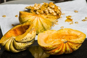 Winter squash hollowed out to cook