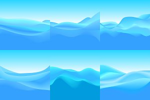 6 Abstract Backgrounds of Blue Waves