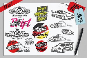 13 in 1 set of Drift Sport Cars