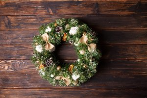Burlap rustic Christmas wreath