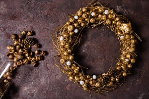 Golden woven wreath