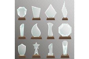 Set of Glass transparent trophy awards