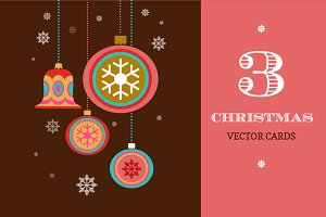 3 Merry Christmas greeting cards