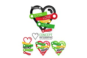 Vector love heart linear style icons, 3d cut out relief with sticker - button