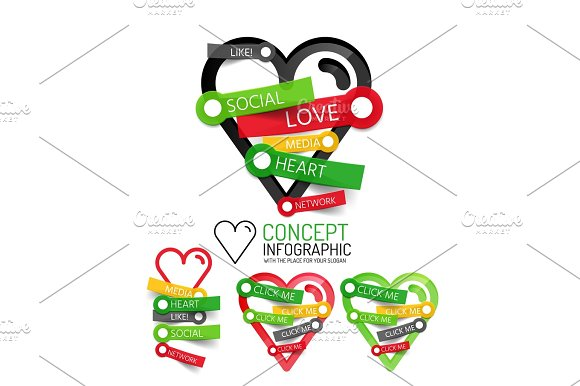 Vector Love Heart Linear Style Icons 3D Cut Out Relief With Sticker Button