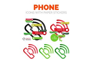 Vector old phone linear style icons, 3d cut out relief with sticker - buttons