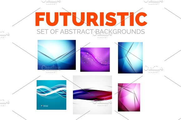 Set Of Modern Futuristic Abstract Background