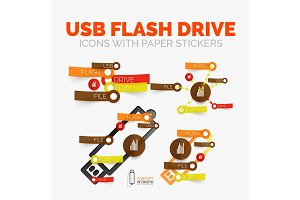 Vector diagram elements set of USB flash drive icons with plastic paper style stickers for text