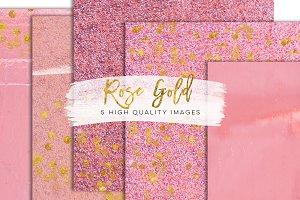 Pink floral rose gold glitter paper