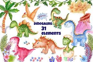 Watercolor Dinosaur Clipart