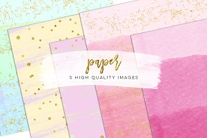Glitter watercolor rainbow paper