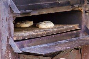 baking fresh handmade bread in the bakery