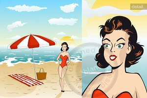 Retro illustration of summer